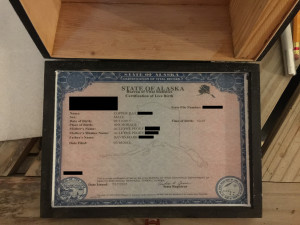 Copper's Birth Certificate